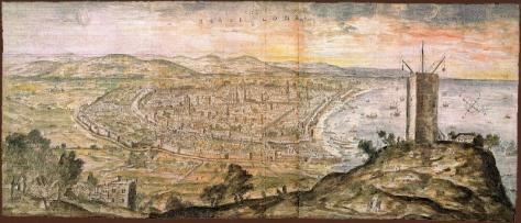 Panorama de Barcelona desde Montjuïc,tomado por Anton van den Wyngaerde en 1563